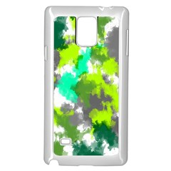 Abstract Watercolor Background Wallpaper Of Watercolor Splashes Green Hues Samsung Galaxy Note 4 Case (White)