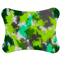 Abstract Watercolor Background Wallpaper Of Watercolor Splashes Green Hues Jigsaw Puzzle Photo Stand (Bow)