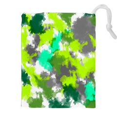 Abstract Watercolor Background Wallpaper Of Watercolor Splashes Green Hues Drawstring Pouches (XXL)