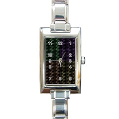 Multicolor Pattern Digital Computer Graphic Rectangle Italian Charm Watch