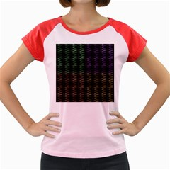 Multicolor Pattern Digital Computer Graphic Women s Cap Sleeve T Shirt