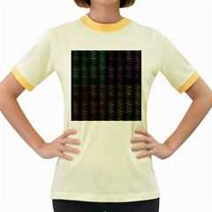 Multicolor Pattern Digital Computer Graphic Women s Fitted Ringer T-Shirts