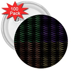 Multicolor Pattern Digital Computer Graphic 3  Buttons (100 Pack)