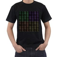 Multicolor Pattern Digital Computer Graphic Men s T Shirt (black) (two Sided)