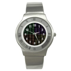 Multicolor Pattern Digital Computer Graphic Stainless Steel Watch