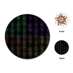 Multicolor Pattern Digital Computer Graphic Playing Cards (round)