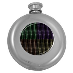 Multicolor Pattern Digital Computer Graphic Round Hip Flask (5 Oz)