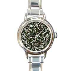 Camouflaged Seamless Pattern Abstract Round Italian Charm Watch