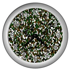 Camouflaged Seamless Pattern Abstract Wall Clocks (silver)