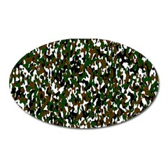 Camouflaged Seamless Pattern Abstract Oval Magnet