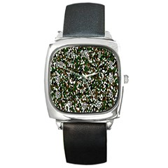 Camouflaged Seamless Pattern Abstract Square Metal Watch