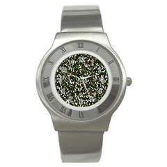 Camouflaged Seamless Pattern Abstract Stainless Steel Watch