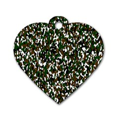 Camouflaged Seamless Pattern Abstract Dog Tag Heart (Two Sides)