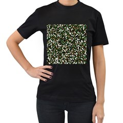 Camouflaged Seamless Pattern Abstract Women s T-Shirt (Black)