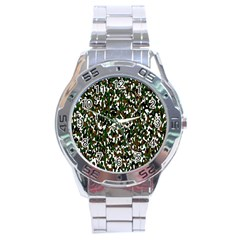 Camouflaged Seamless Pattern Abstract Stainless Steel Analogue Watch