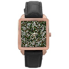 Camouflaged Seamless Pattern Abstract Rose Gold Leather Watch