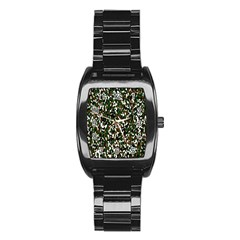 Camouflaged Seamless Pattern Abstract Stainless Steel Barrel Watch