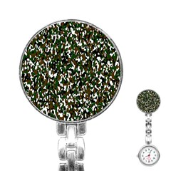 Camouflaged Seamless Pattern Abstract Stainless Steel Nurses Watch