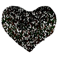Camouflaged Seamless Pattern Abstract Large 19  Premium Flano Heart Shape Cushions