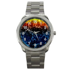 Abstract Background Sport Metal Watch
