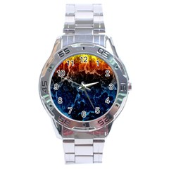 Abstract Background Stainless Steel Analogue Watch
