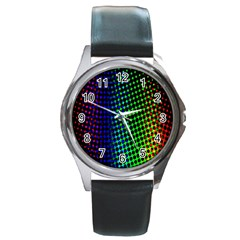 Digitally Created Halftone Dots Abstract Background Design Round Metal Watch