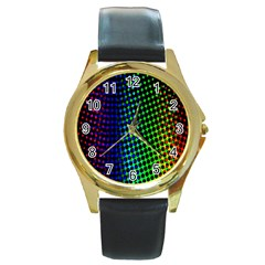 Digitally Created Halftone Dots Abstract Background Design Round Gold Metal Watch