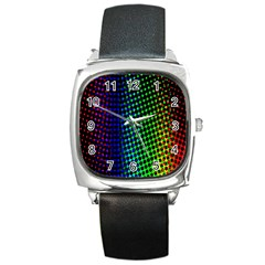 Digitally Created Halftone Dots Abstract Background Design Square Metal Watch