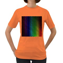 Digitally Created Halftone Dots Abstract Background Design Women s Dark T Shirt