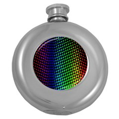 Digitally Created Halftone Dots Abstract Background Design Round Hip Flask (5 oz)