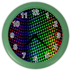 Digitally Created Halftone Dots Abstract Background Design Color Wall Clocks