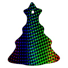 Digitally Created Halftone Dots Abstract Background Design Christmas Tree Ornament (Two Sides)