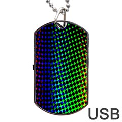 Digitally Created Halftone Dots Abstract Background Design Dog Tag USB Flash (Two Sides)