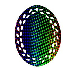 Digitally Created Halftone Dots Abstract Background Design Oval Filigree Ornament (two Sides)