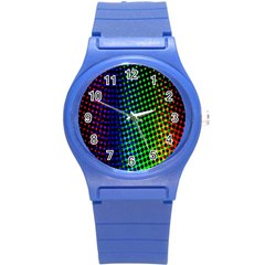 Digitally Created Halftone Dots Abstract Background Design Round Plastic Sport Watch (S)
