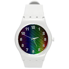 Digitally Created Halftone Dots Abstract Background Design Round Plastic Sport Watch (m)