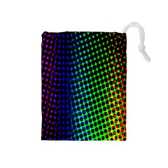 Digitally Created Halftone Dots Abstract Background Design Drawstring Pouches (Medium)