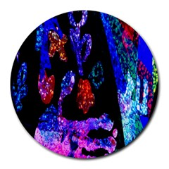 Grunge Abstract In Black Grunge Effect Layered Images Of Texture And Pattern In Pink Black Blue Red Round Mousepads