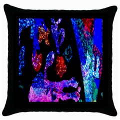 Grunge Abstract In Black Grunge Effect Layered Images Of Texture And Pattern In Pink Black Blue Red Throw Pillow Case (Black)