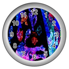 Grunge Abstract In Black Grunge Effect Layered Images Of Texture And Pattern In Pink Black Blue Red Wall Clocks (Silver)