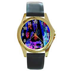 Grunge Abstract In Black Grunge Effect Layered Images Of Texture And Pattern In Pink Black Blue Red Round Gold Metal Watch