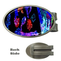 Grunge Abstract In Black Grunge Effect Layered Images Of Texture And Pattern In Pink Black Blue Red Money Clips (oval)