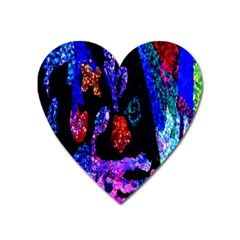 Grunge Abstract In Black Grunge Effect Layered Images Of Texture And Pattern In Pink Black Blue Red Heart Magnet