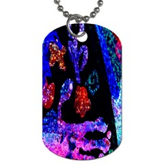 Grunge Abstract In Black Grunge Effect Layered Images Of Texture And Pattern In Pink Black Blue Red Dog Tag (One Side)