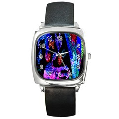 Grunge Abstract In Black Grunge Effect Layered Images Of Texture And Pattern In Pink Black Blue Red Square Metal Watch