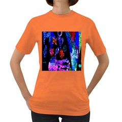 Grunge Abstract In Black Grunge Effect Layered Images Of Texture And Pattern In Pink Black Blue Red Women s Dark T Shirt