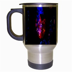 Grunge Abstract In Black Grunge Effect Layered Images Of Texture And Pattern In Pink Black Blue Red Travel Mug (silver Gray)