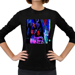 Grunge Abstract In Black Grunge Effect Layered Images Of Texture And Pattern In Pink Black Blue Red Women s Long Sleeve Dark T Shirts