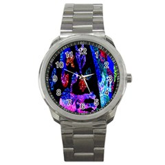 Grunge Abstract In Black Grunge Effect Layered Images Of Texture And Pattern In Pink Black Blue Red Sport Metal Watch