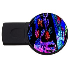 Grunge Abstract In Black Grunge Effect Layered Images Of Texture And Pattern In Pink Black Blue Red Usb Flash Drive Round (4 Gb)